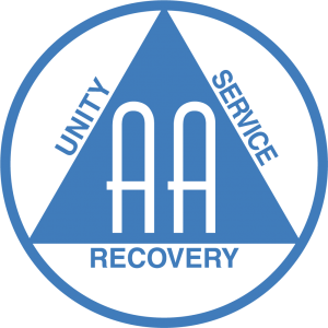 Alcoholics Anonymous logo saying Unity, Service and Recovery